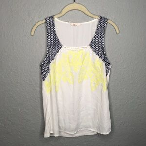 Skies are Blue Sleeveless Embroidered Top Sz Small